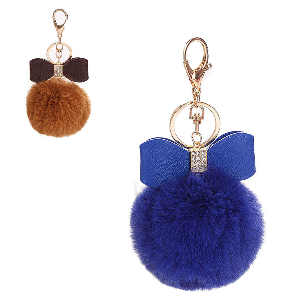 Big Faux Fur Pom-pom KeyChain Bag Charm Fluffy Cute Ball Keyring Pendant Dangle
