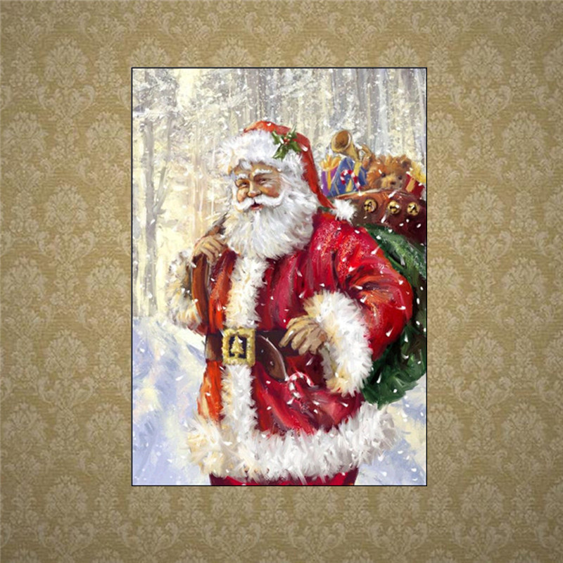 5D DIY Diamond Embroidered Santa Diamonds Cross Stitch Full Round Diamond Embroidery Mosaic in Diamond Painting Cross Stitch from Home Garden