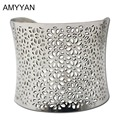 Hollow Out Wide Cuff Bracelets and Bangles New 2015 Punk Designer Silver Color Stainless Steel Costume Jewelry For Women