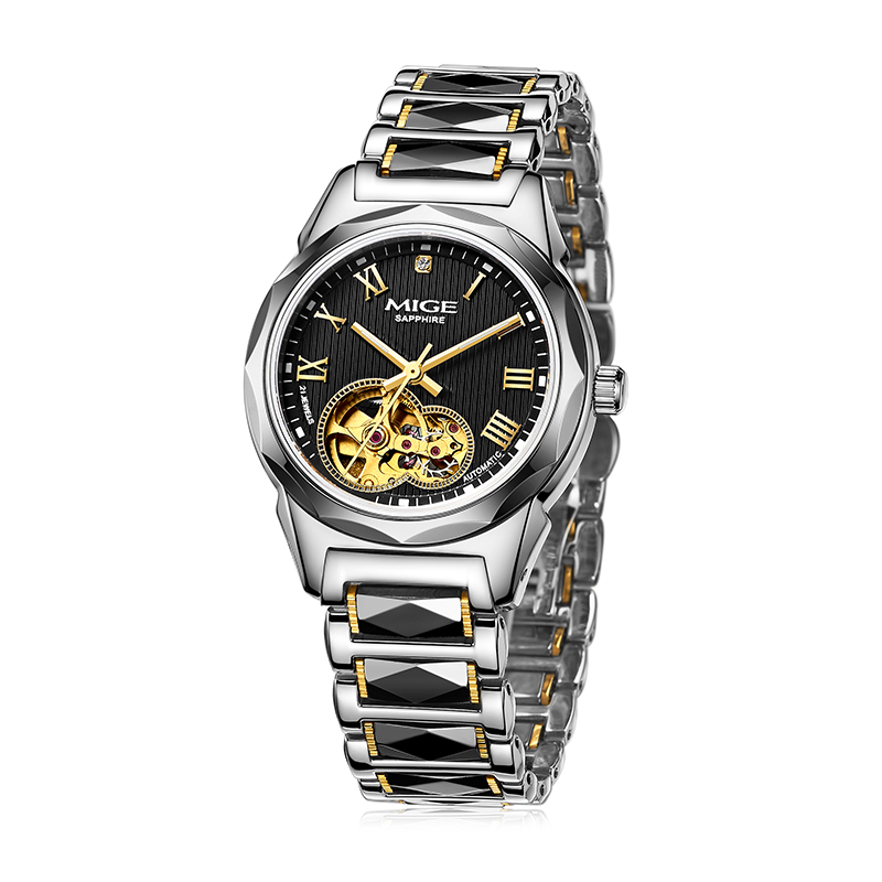 Mige 2017 Hot Sale Brand Mechanical Female Watch Black Tungsten Watchband Automatic Movement Waterproof Skeleton Women Watches mige 2017 real time limited rushed sale man watch black white steel watchband business waterproof quartz movement mans watches