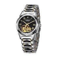 Mige 2018ขายร้อนยี่ห้อวิศวกรรมหญิงสีดำดูทังสเตนสายนาฬิกาข้อมือเคลื่อนไหวอัตโนมัติกันน้ำโครงกระดูกผู้หญิงนาฬิกา-ใน นาฬิกาข้อมือสตรี จาก นาฬิกาข้อมือ บน