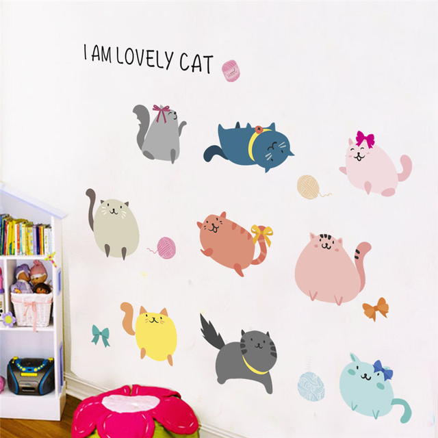 Funny Cats Paw Wall Stickers For Kids Rooms Nursery Home Decor Cartoon Animals Decals Pvc