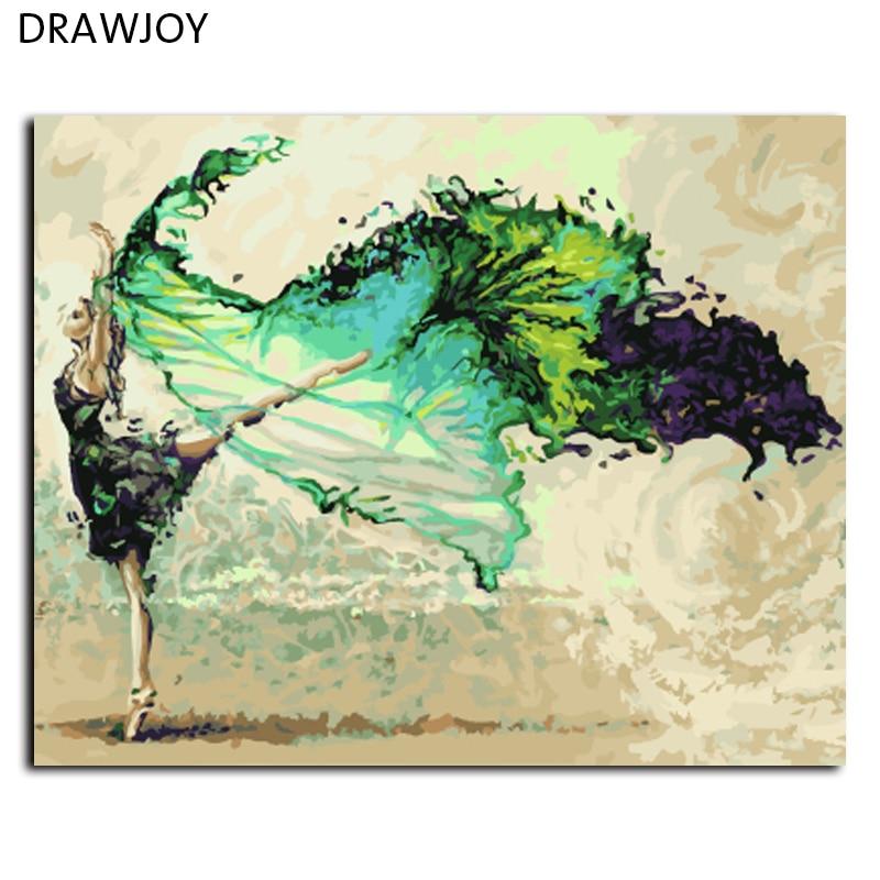 DRAWJOY Incorniciato Pittura By Numbers FAI da te Pittura A Olio Dipinta A Mano Su Tela di canapa di Arte 40*50 cm Astratto Ballerino di danza classica G006 Wall Art