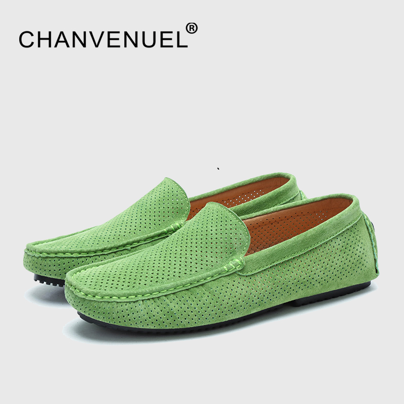 Spring Summer Breathable Hollow Shoes Men Loafers Luxury Brand Italian Fashion Casual Men's Boat Leather Green Slip On Moccasins