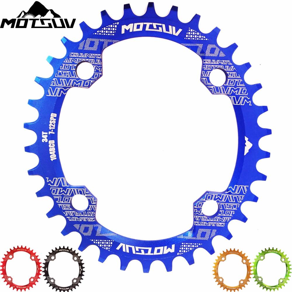 MOTSUV Bicicleta Forma Oval de Largura Estreita Chainwheel 32 T/34 T/36 T/38 T Chainring 104BCD bicicleta Pedaleira Oval Única Placa de Bicicleta Peças