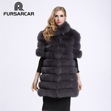 FURSARCAR 2017 Real Fox Fur Coats For Women Customize Full Pelt Medium Long Half Sleeve Winter Thick Genuine Fur Female Jacket