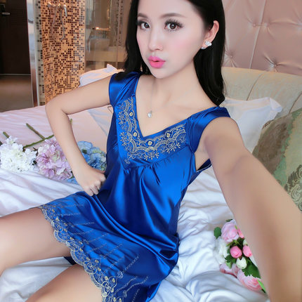 2017 Summer Autumn Women Sexy Rayon Silk Nightdress Lady Chiffon Nightgown Female Pijama Nightwear & Sleepshirt babydoll
