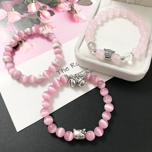 LE SKY Women Colorful Beaded Bracelets Lucky Cat Cute OL Glass Ball Crystal Girl Kawaii Casual Pink Jewelry