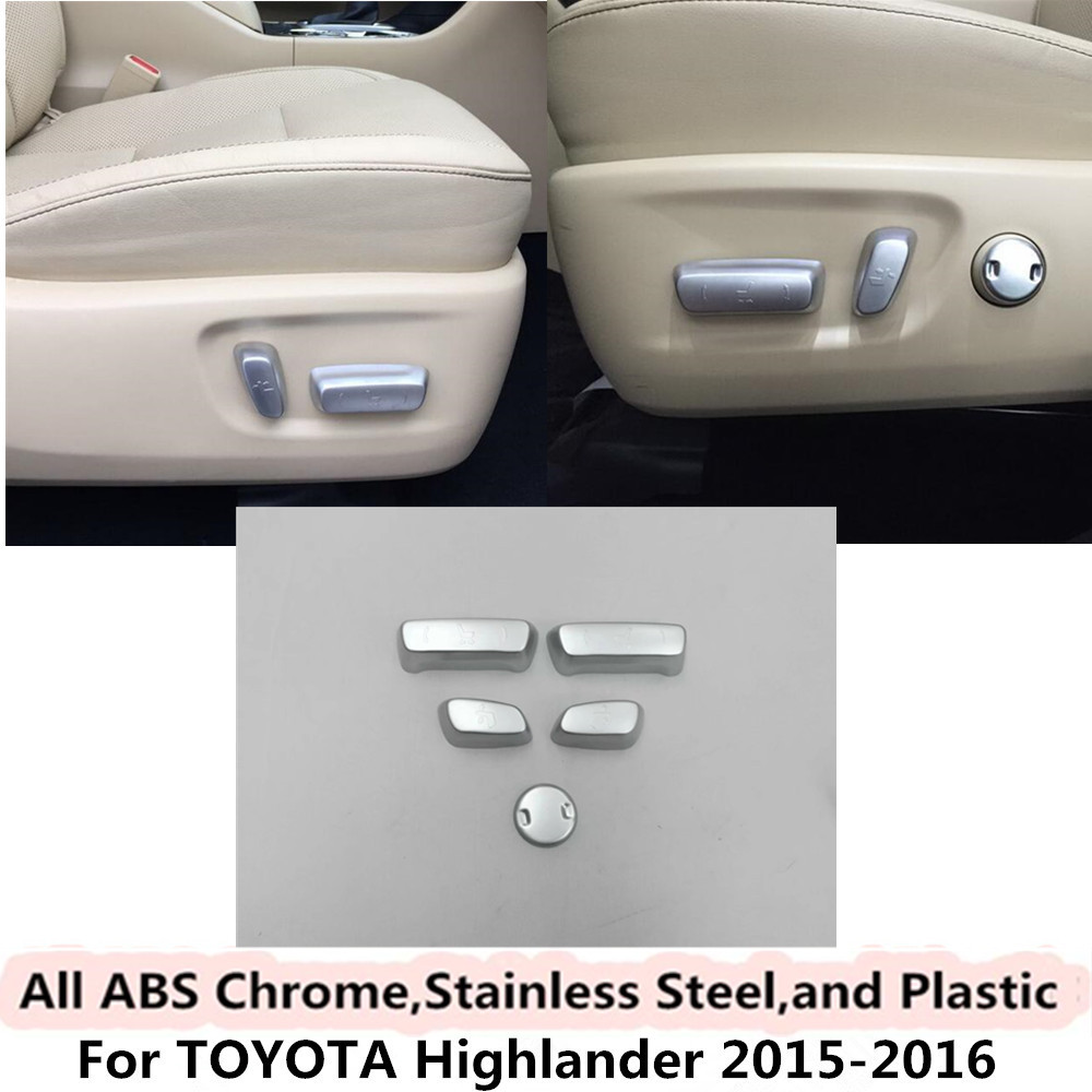 For Toyota Highlander 2015 2016 Car styling cover detector ABS Chrome seat adjustment knob button switch trim Accessories 5pcs