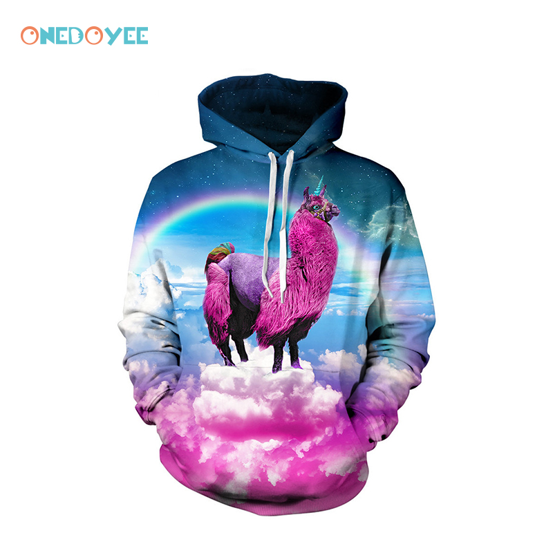 Onedoyee Men Women Skateboard Hoodies Sweatshirts 3D Rainbow Unicorn Print Autumn Winter Thin Hooded Pullovers Male Sportswear