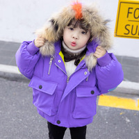 Girls Winter Coats With Fur Hooded 2019 New Brand Thick Cotton Padded Down Parka Warm Jacket Coat For 1 6T Kids Girls Outerwear