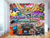 custom Hip Hop Graffiti Throwback 80s 90s House Car photo backdrop High quality Computer print party background