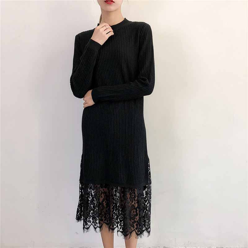 Dresses Lace Loose Long Sweater Dress Women Winter Autumn 2018 Long Sleeve Knitting Tricot White Black Purple Sexy Knitted Dress