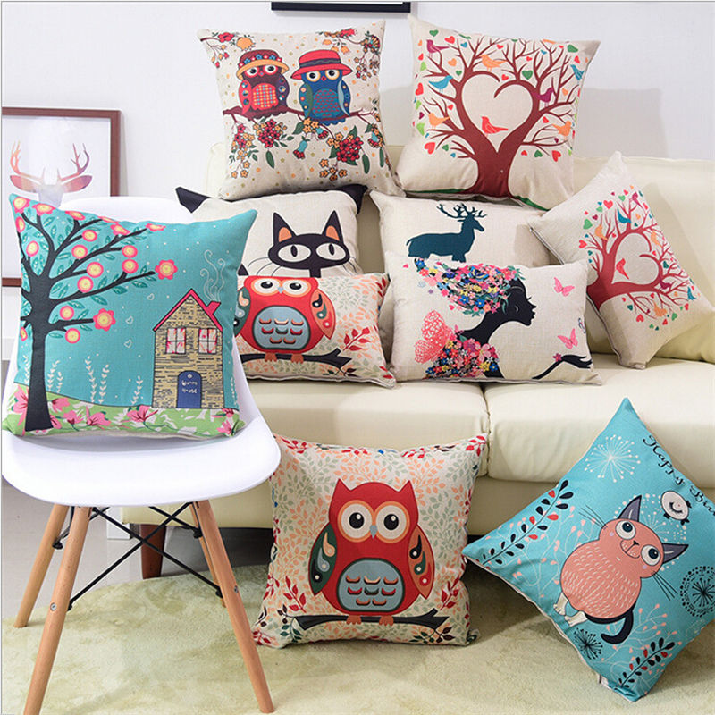 High Quality Pillow Case Colorful Cartoon Printed Linen Cotton Cushion Cover Throw Polyester Cotton For Home Hotel 40x40 Cm