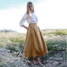1cc286db73 IEGXFASHION Summer style Solid Cotton Linen Long Skirt Casual Loose Skirts  Women