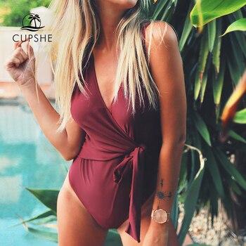 CUPSHE Solid Low Back One-piece Swimsuit Women Burgundy Deep V neck Monokini 2020 Girl Beach Padded Bathing Suit Swimwear 3