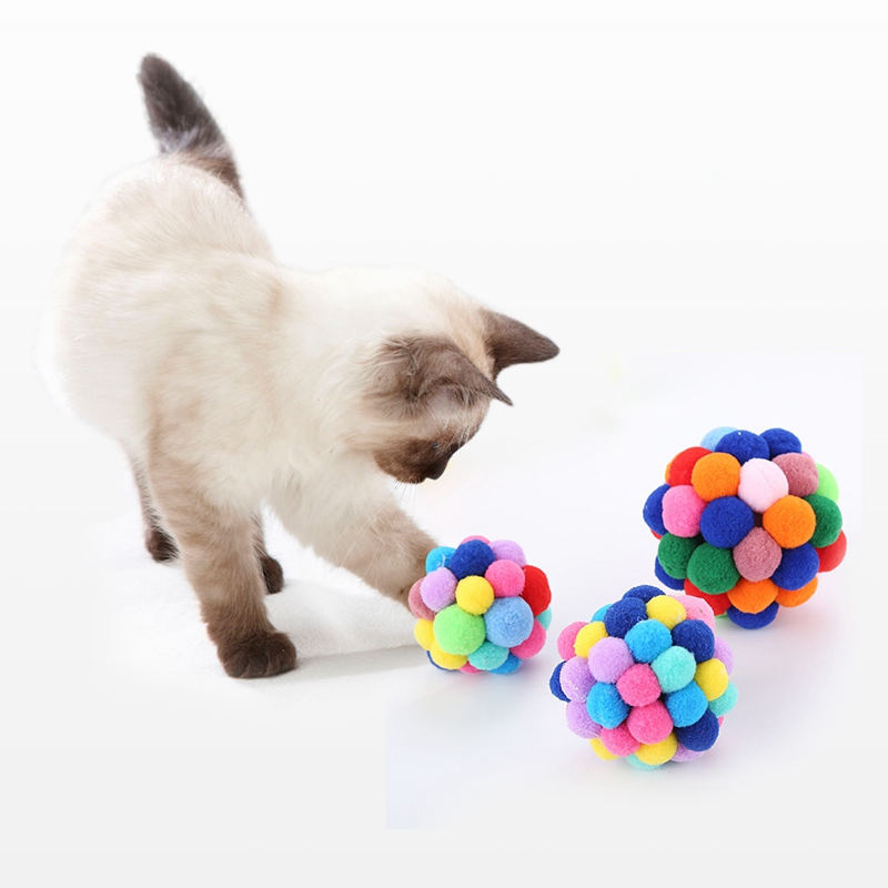 Pet Cat Toys Colorful Handmade Bells Bouncy Ball Built-In Catnip Interactive Toy