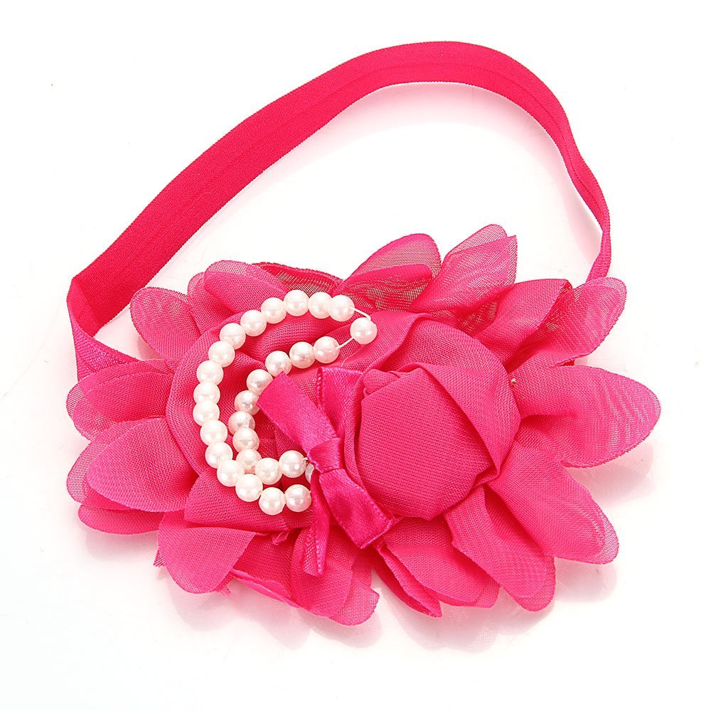 New Kids Girls Flower Headband Hair Band Headwear Elastic Magenta