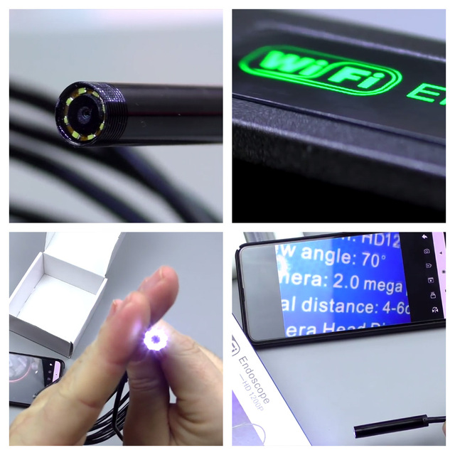 KERUI WIFI Endoscope Camera Mini Waterproof Soft Cable Inspection Camera 8mm 1M USB Endoscope Borescope IOS Endoscope For Iphone 4