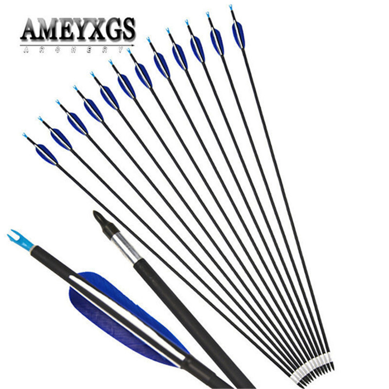 "10pcs 32"" Spine700 Carbon Fiberglass Arrow Turkey Arrow Feathers For Compound/Recurve Bow Hunting Shooting Archery Accessories"