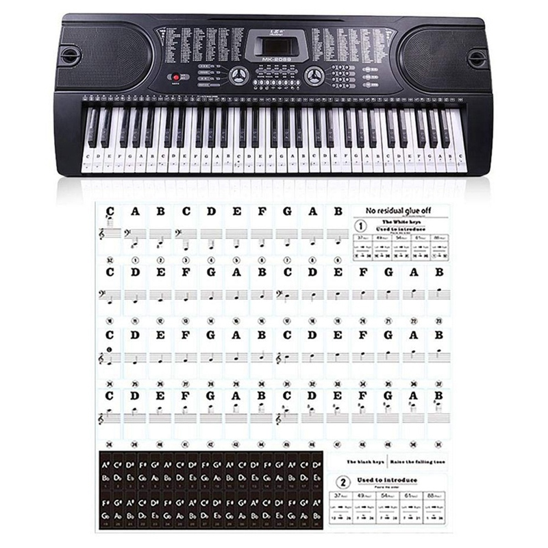 88 Keys 61 Keys 54 Keys Transparent Piano Keyboard Stickers Electronic Keyboards Stickers Tabs Musical Notes Key Stickers