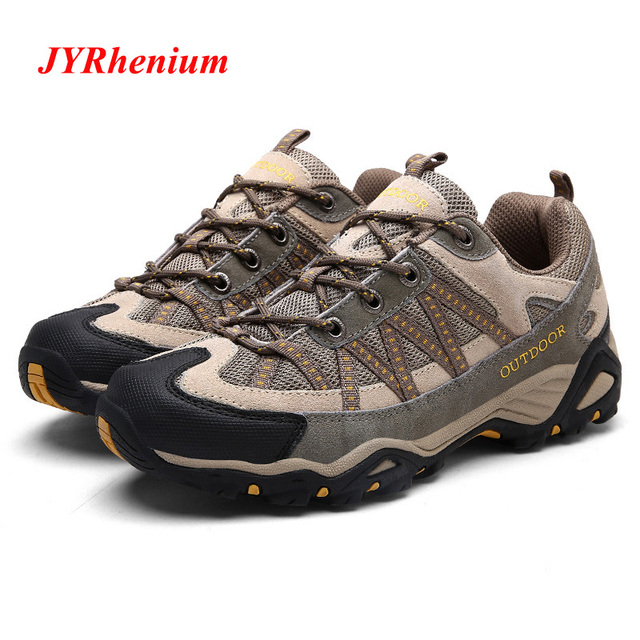 JYRhenium New Men's Hiking Shoes Genuine Leather Cushioning Breathable Shoes Women Outdoor Trekking Backpacking Travel Shoes Men