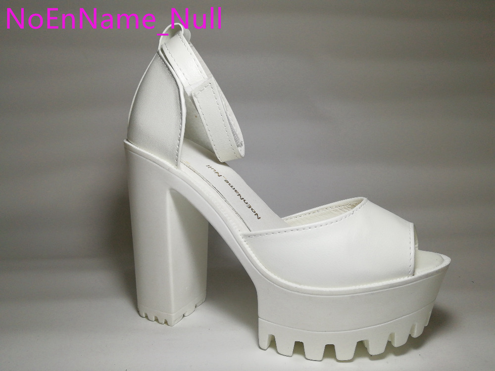 Women Sandals New 2016 Summer Shoes Open Toe Sandals Platform Thick Heel High-heeled Shoes White Black Women's Shoes Size 35-39 2016 new summer pep toe woman sandals platform thick heel summer women shoes hook