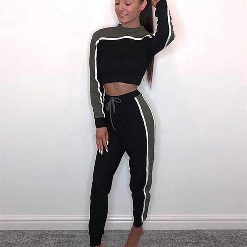 9f2c7b4e063ce New Fashion two piece set 2Pcs Women Tracksuit patchwork Sptride Sweatshirt  Pants Sets Lounge Wear Casual