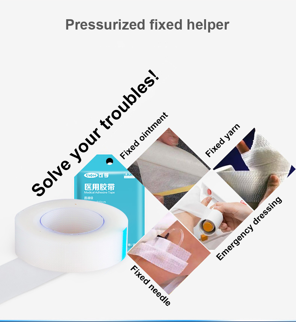 Cofoe 5 Rolls Medical Adhesive Tape Transparent PE Breathable Rubberized Fabric Stick to the Wound Bind Fixed Plaster Waterproof 5