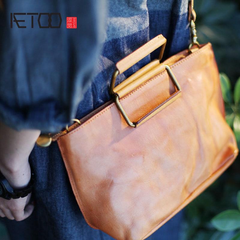 AETOO Handmade leather handbag designer handbags leather ladies handbag shell bag retro shoulder bag