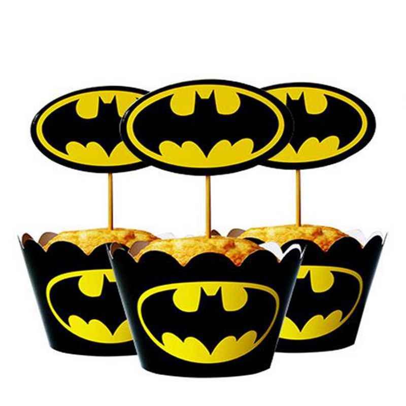 24 pcs Envoltórios Do Queque chapéus de coco Picaretas Menino Dos Desenhos Animados Batman crianças Bolo de Aniversário Festa de Casamento Decoração de acessórios Suprimentos de cozimento