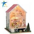 Manual de casas de muñecas de madera pequeña casa de muñecas de juguete para niños de color rosa con la luz 28*29*40 CM Los Niños modelo Europeo cabina de jugar el juego de la casa