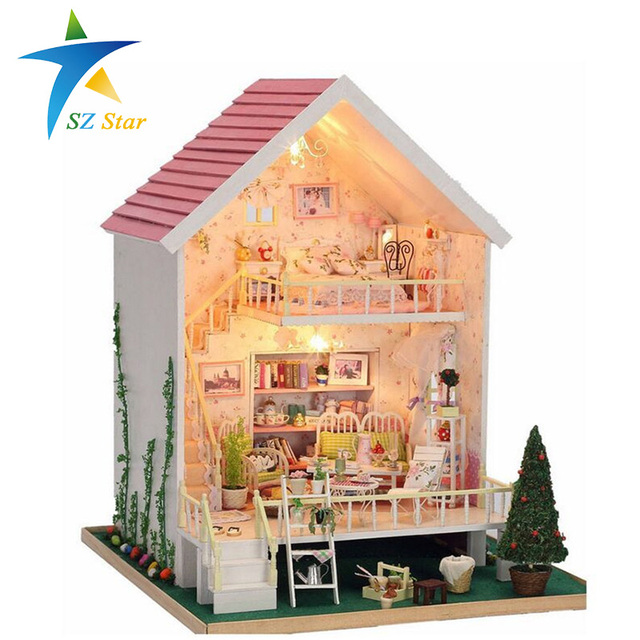 Manual pink wood small doll house kids toy dollhouses with light 28*29*40CM Children European model cabin play the game house