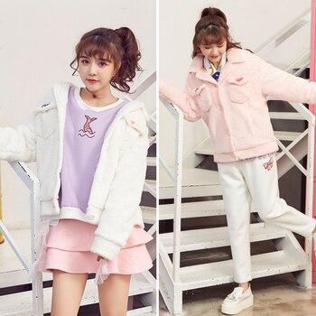 Princess sweet lolita jackets Cat Venice Korean style loose imitation fur embroidery motorcycle jackets White / powder VC17