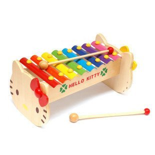 Candice guo! New arrival cute wooden toy Hello kitty KT cat shape hand knock xylophone 8 scales 1pc