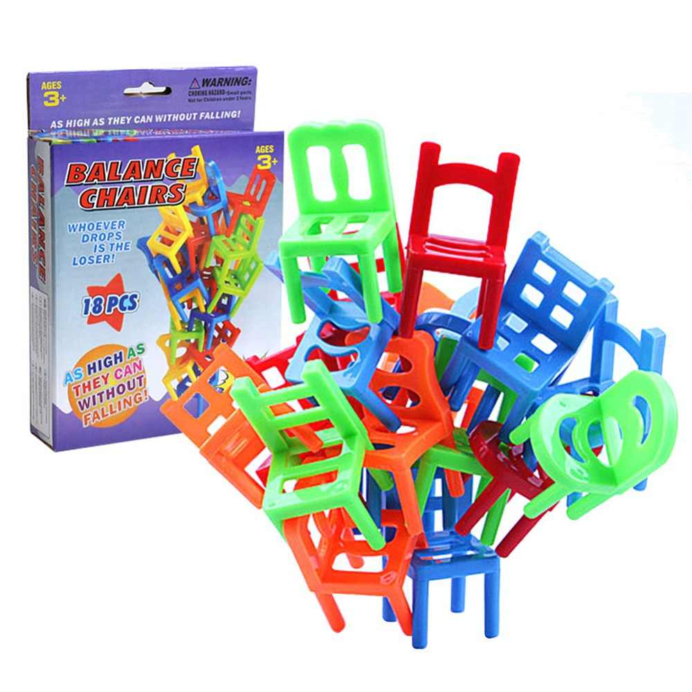 Kids Chair Desk 18pcs Lot Mini Chair Assembly Blocks Plastic Balance Toy Stacking Chairs Kids Desk Educational Play Game Balancing Traning Toys