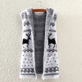 2017 sweater women hooded Mohair Cotton Sweater Coat villapaita pull christmas deer animal prints sleeveless white Ukraninians
