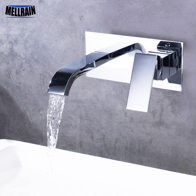 Wall mounted bathroom basin faucet quality brass chrome plated bathroom mixer concealed installation kitchen faucet диски helo he844 chrome plated r20