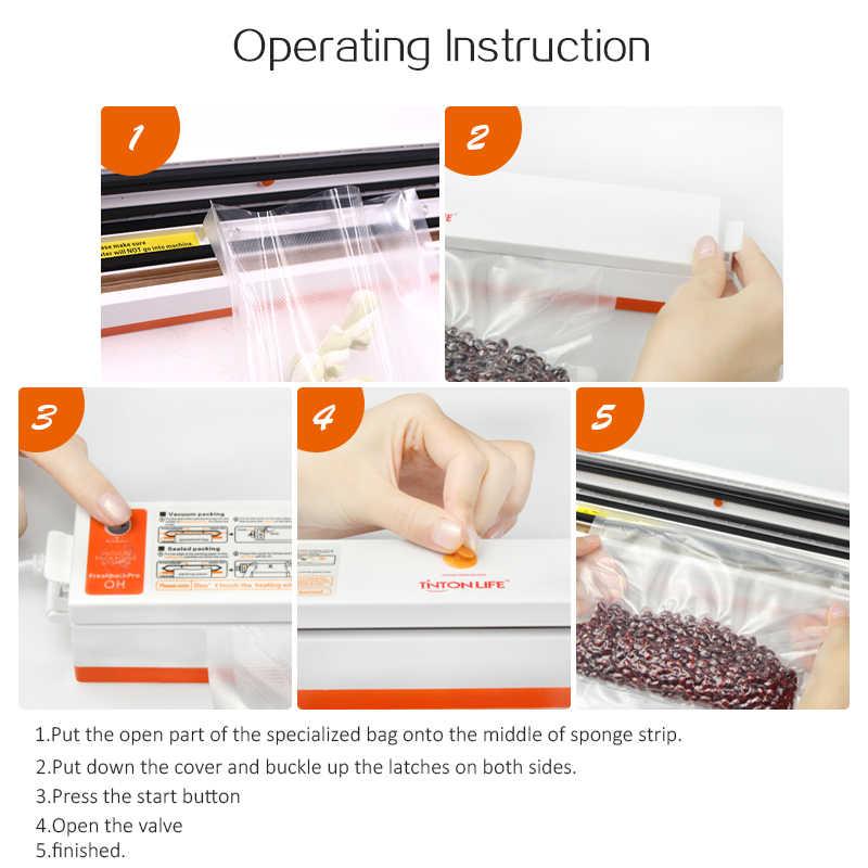 Tintonlife 220 v/110 v aferidor do vácuo de alimentos do agregado familiar máquina de embalagem seladora de filme empacotador do vácuo incluindo 15 sacos dos pces