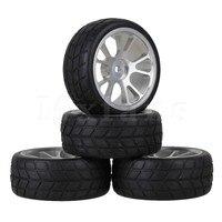 Black RC 1 10 On Road Car Rubber Tire With Silver Wheel Rim 10 Spoke Set