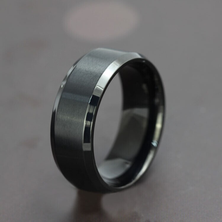 fashion black electroplating men ring titanium steel ring for women