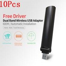 2017 New 10Pcs High Speed 600Mbps Mini USB Wireless Wifi Adapter Wireless LAN Network Card 802.11n/g/b WiFi Receiver Adaptador