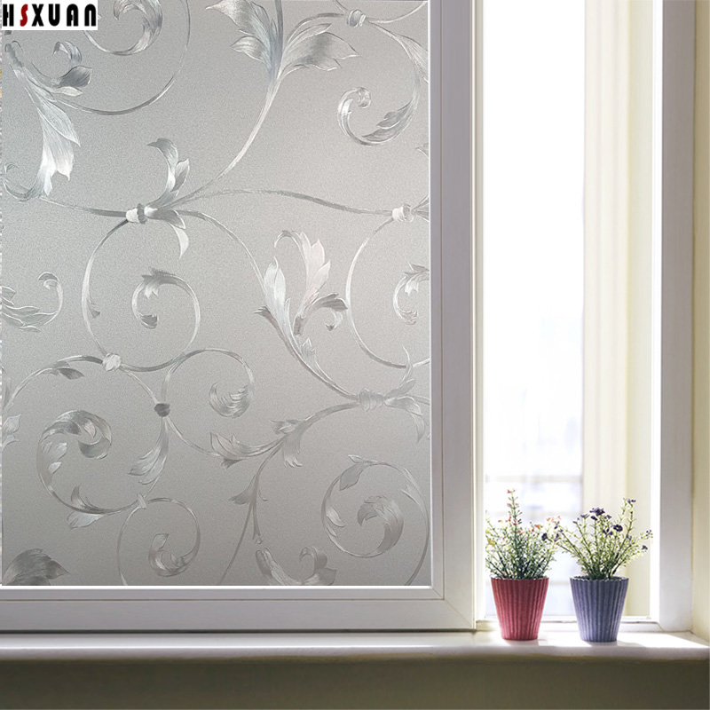privacy decorative glass window film3d flower frosted home decor sunscreen static window stickers hsxuan - Window Film Decorative