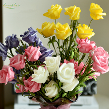 Zinmol Artificial Rose Flowers 6 Heads Latex Roses for wedding bouquet Decoration Flores Party Home Decor Silk flowers