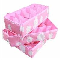 3 In 1 Pink Various Grid Pattern Fashion Convenient Folding Storage Box Bag For Bra Underwear