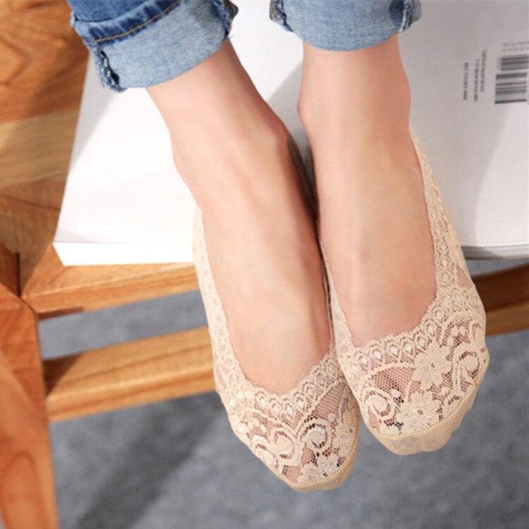 6pcs=3 Pairs/lot Bamboo Fiber Womens Lace Socks Invisible Socks Antiskid High Quality Summer Slipper Woman Lady Female Sox Bright In Colour Women's Socks & Hosiery Sock Slippers