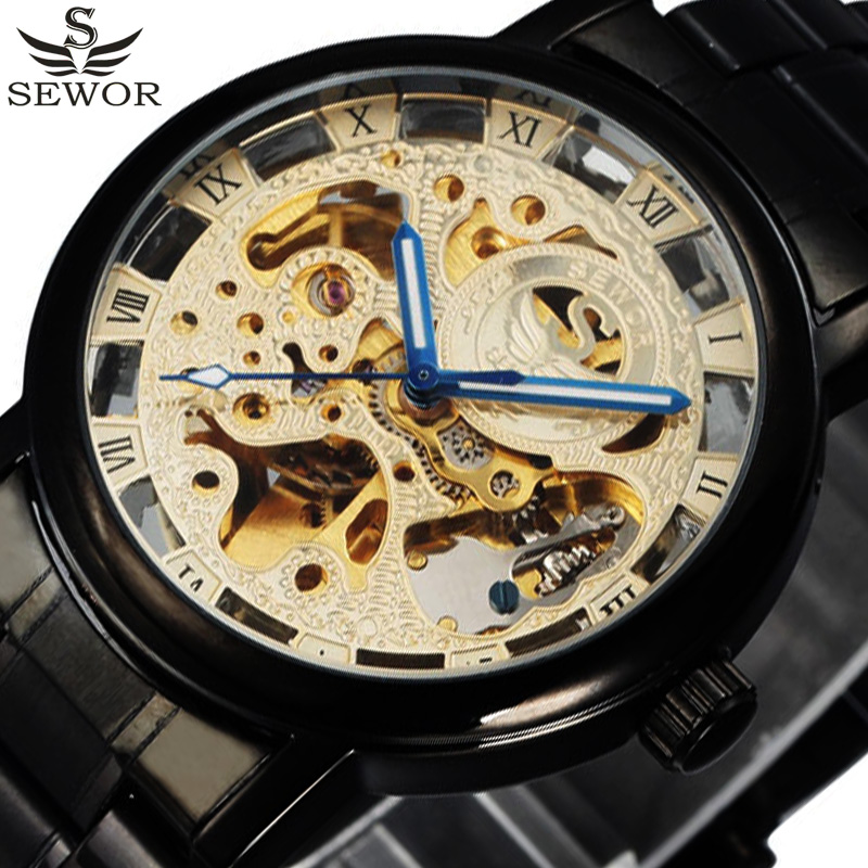 Automatic Mechanical Watch Men Luxury Brand SEWOR Gold Stainless Steel Clock Fashion Mens Skeleton Watches Relogio Masculino hot new fashion sport sewor brand skeleton men business clock steel army leather mechanical luxury gold wrist dress watch gift