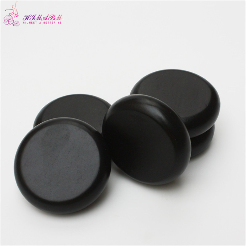 HIMABM 1 pack=4 pcs 8*8cm hot spa black  basalt stone basalt stone essential oil massage volcanic energy stone for body massage