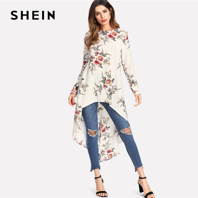 c31c02d35f6 SHEIN Flower Print Dip Hem Longline Trapeze Top 2018 Summer Round Neck Long  Sleeve Floral Vacation