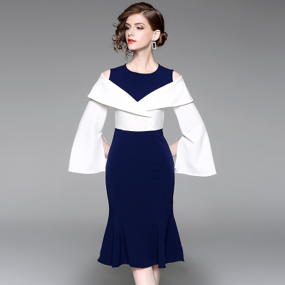 2018 spring new women's color splicing similar two-piece dress office lady frock fishtail dress flare sleeve patchwork empire
